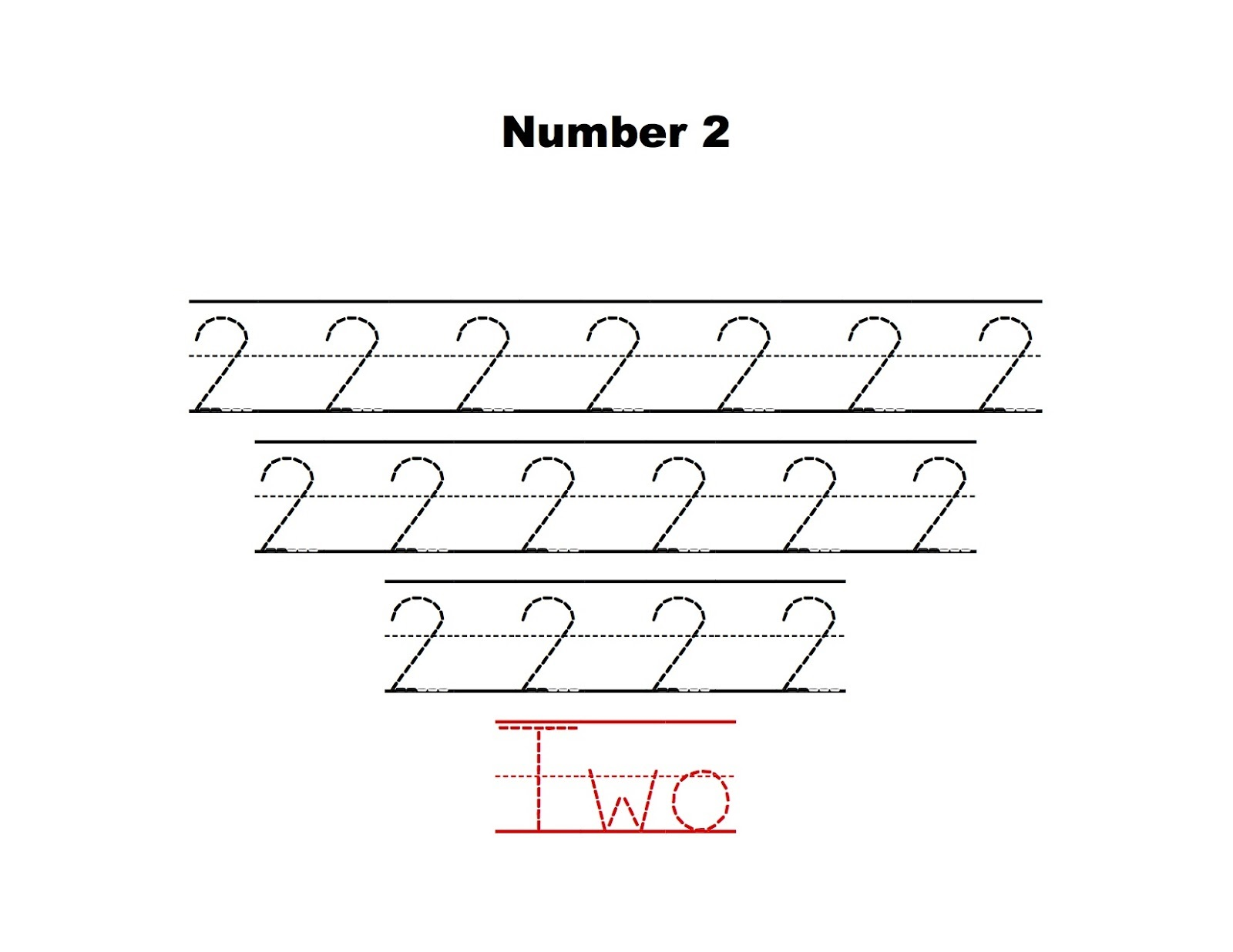 Writing Number 2 Practice Worksheet