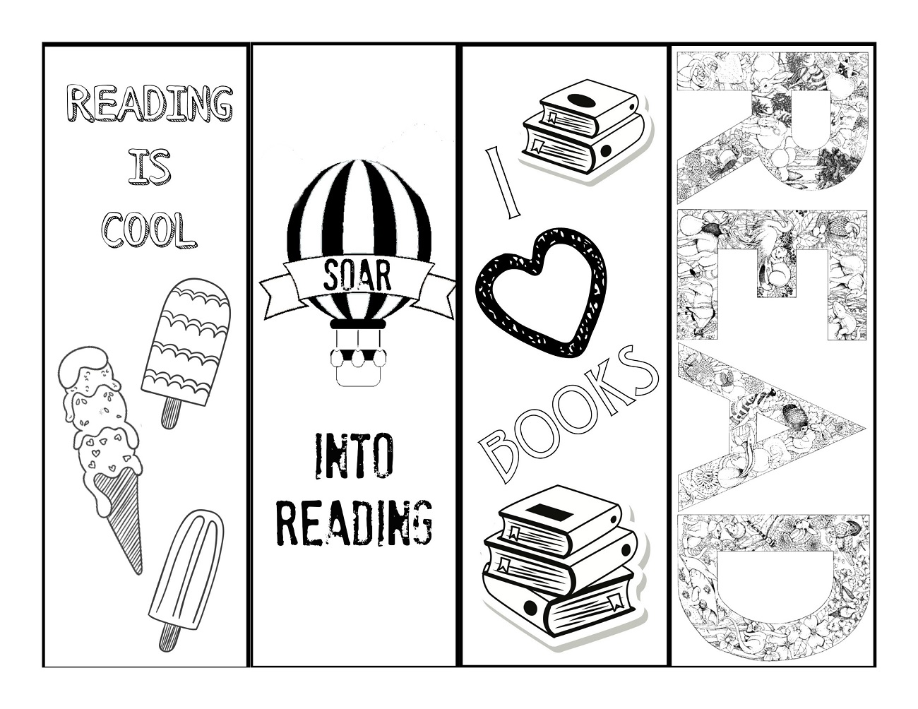 Reading Bookmarks To Colour In Activity Learning Printable