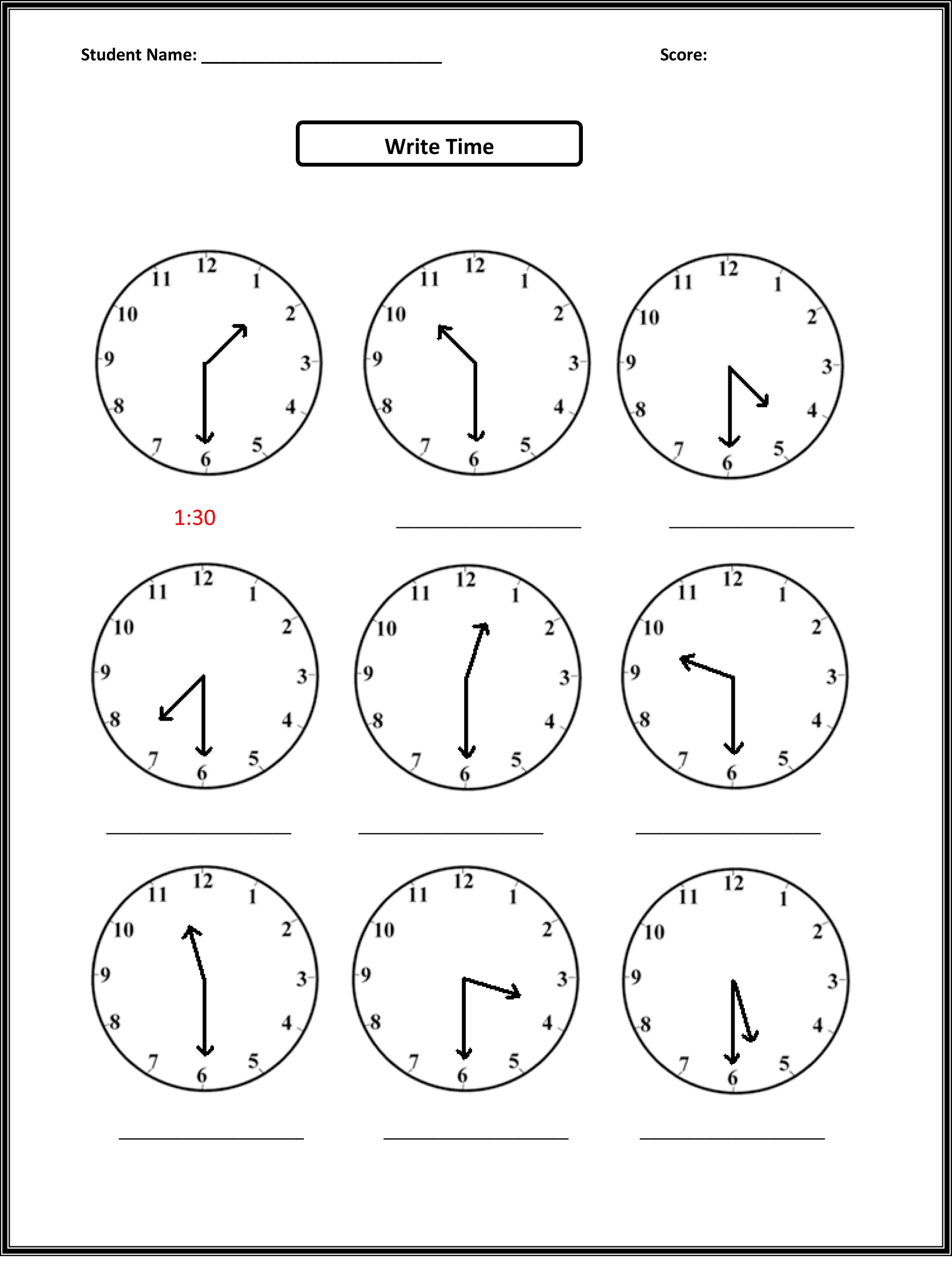 2nd Grade Math Worksheets Telling Time Learning Printable