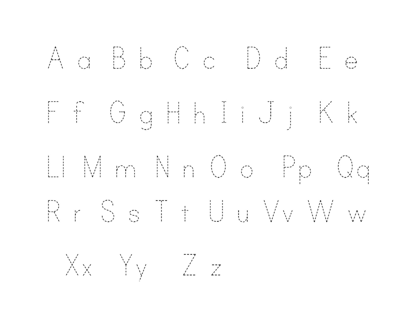 Traceable Upper And Lowercase Alphabet