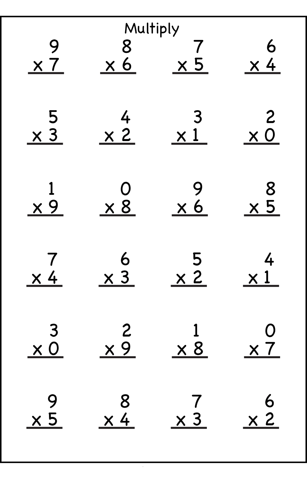Multiplication Worksheet For Grade School