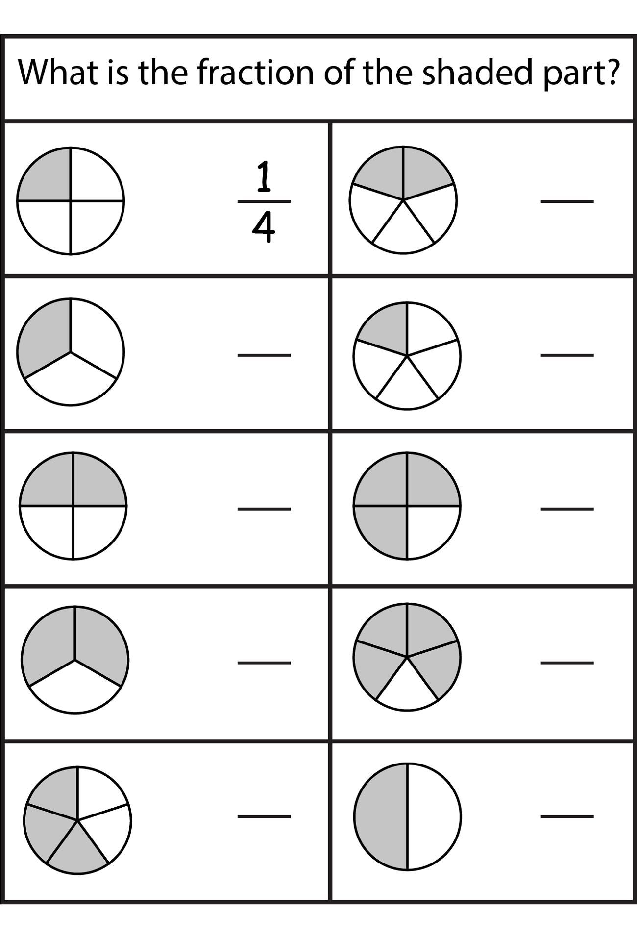 Math Fraction Worksheets For Kids