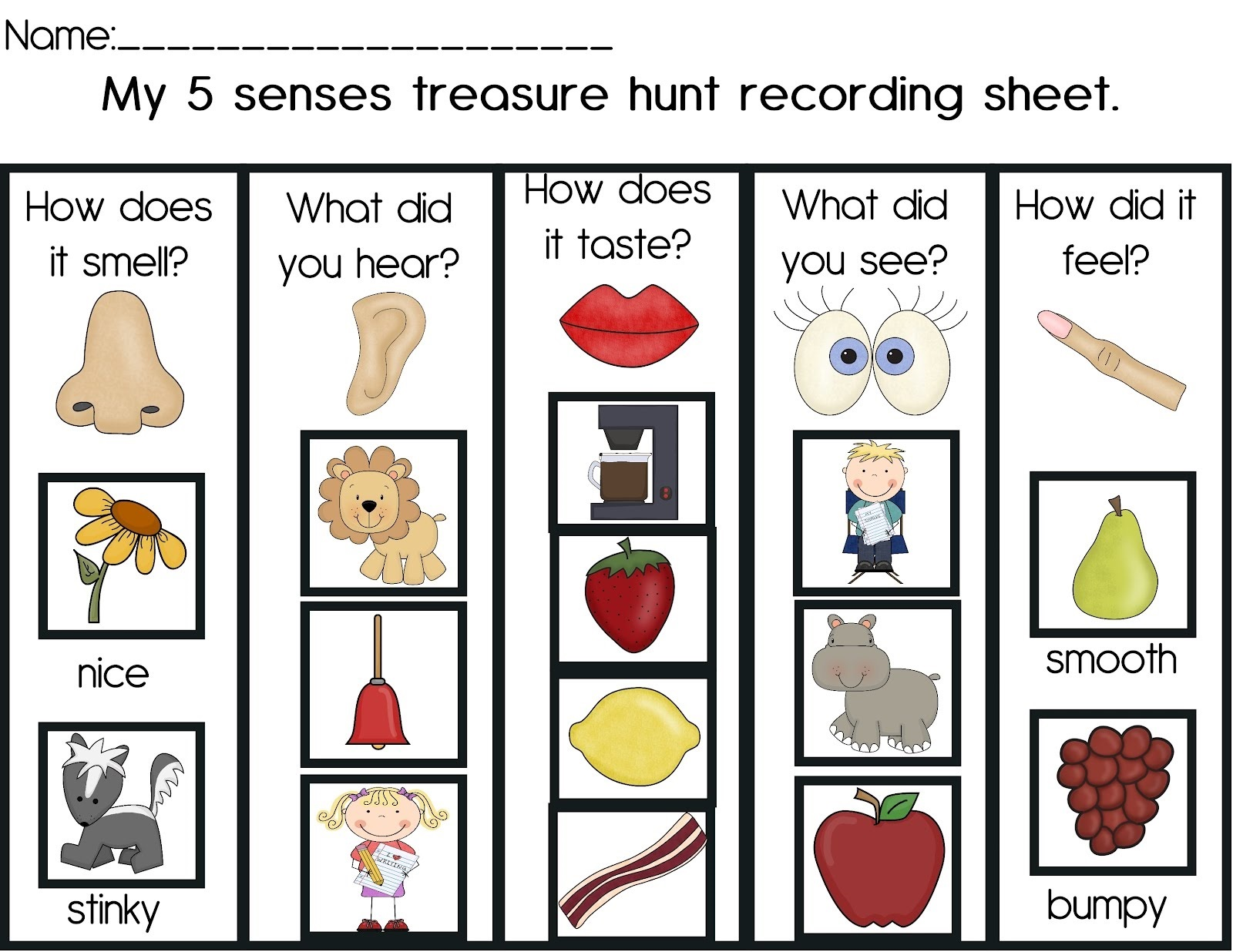 Activities For 5 Senses For Kids Learning Printable