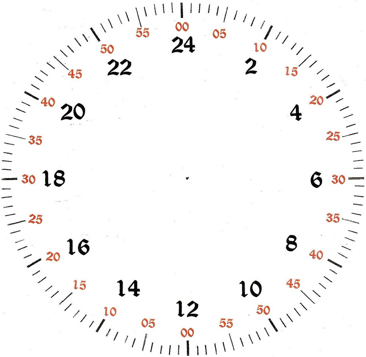 Printable Clock Face With Minutes That Are Fan