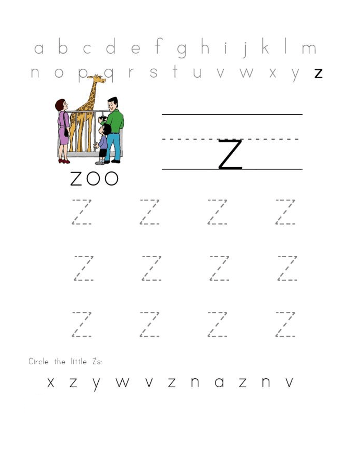 Letter Z Worksheets For Preschool Practice Learning