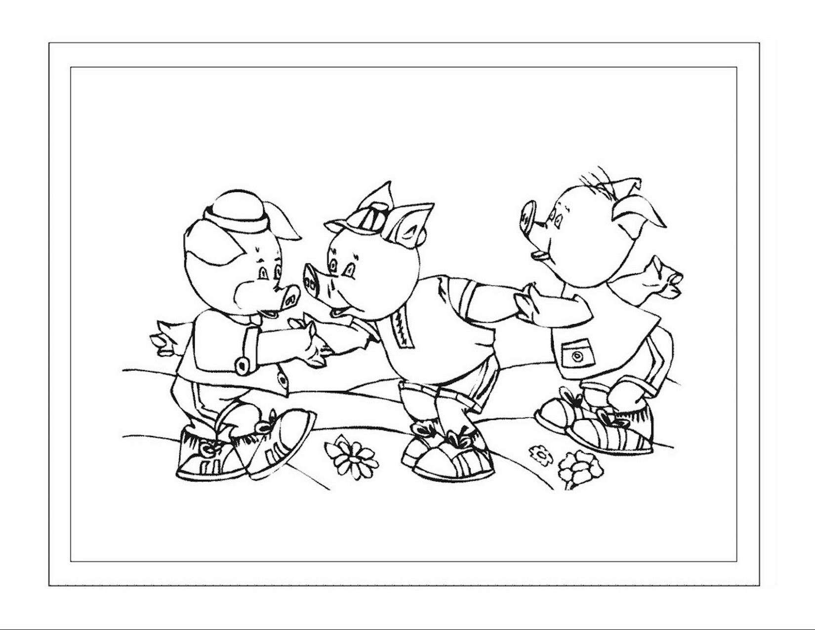 Three Little Pigs Coloring Pages For Preschool