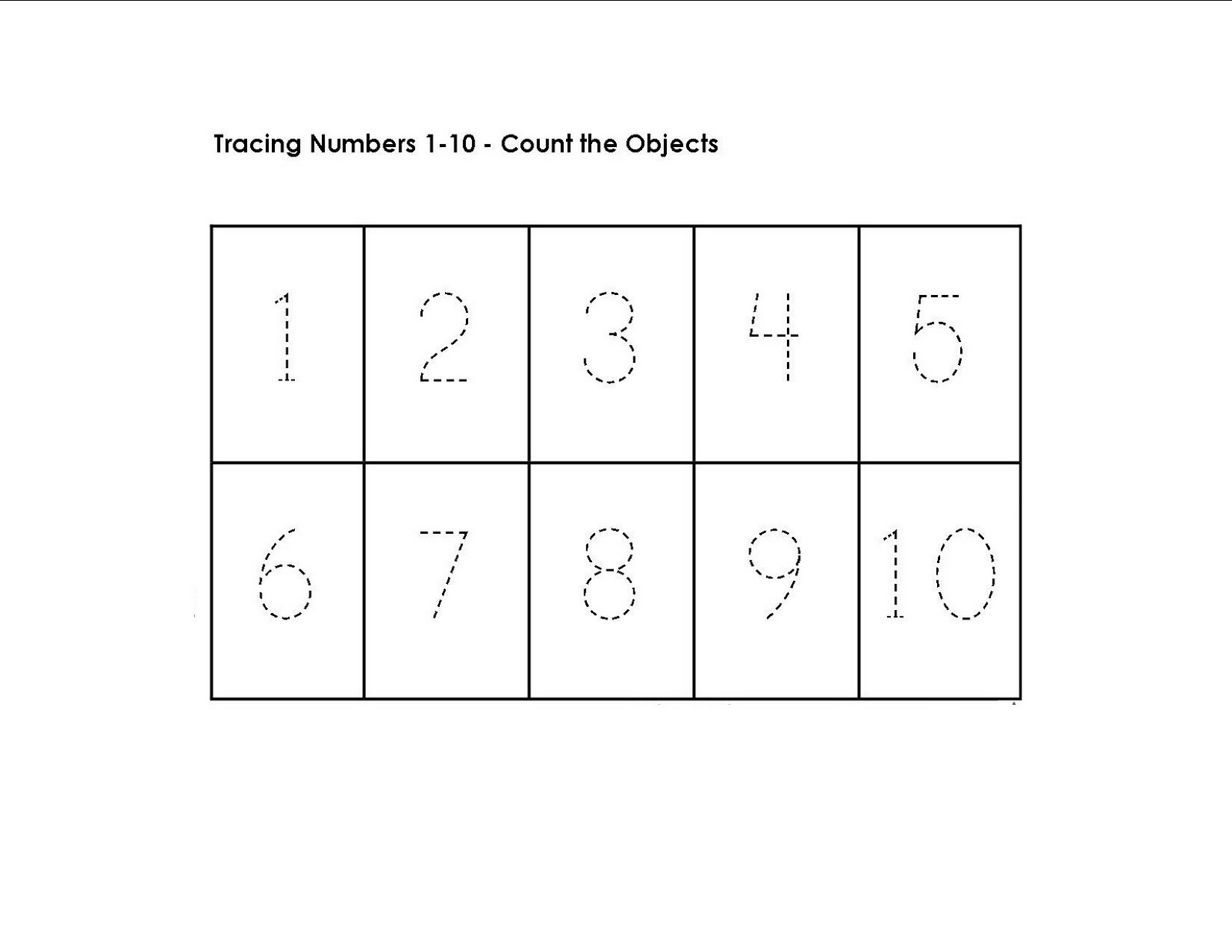 Number 1 Tracing Worksheet