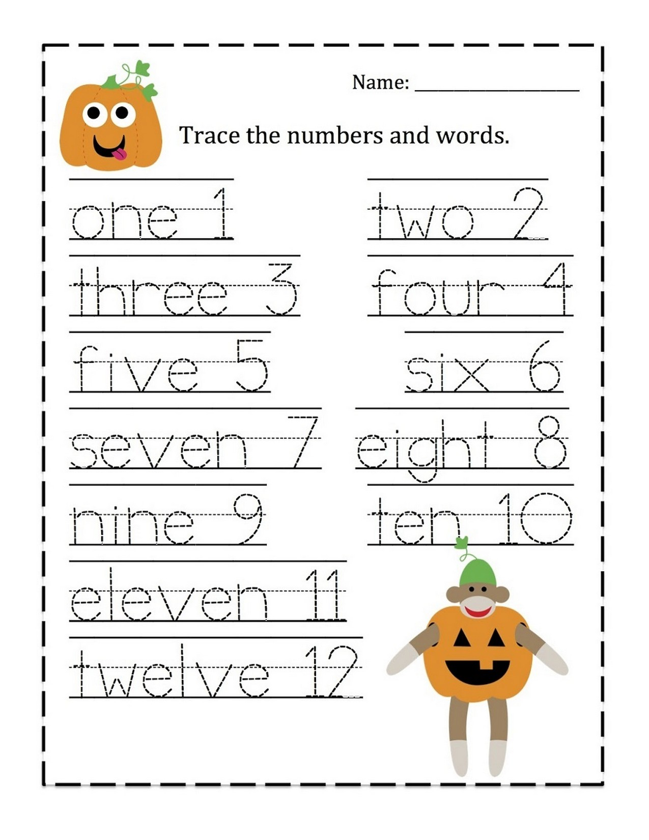 Tracing Numbers 1 10 Worksheet Words Learning Printable