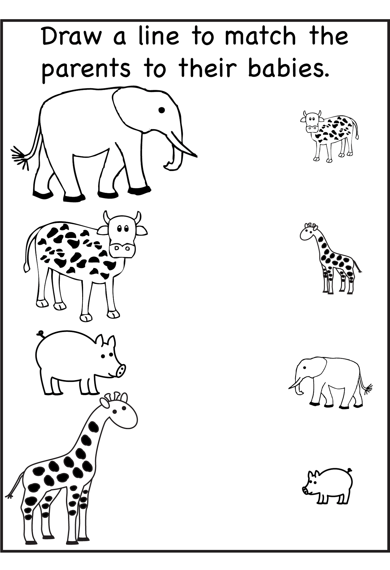 Animal Worksheet For Nursery Class Learning Printable