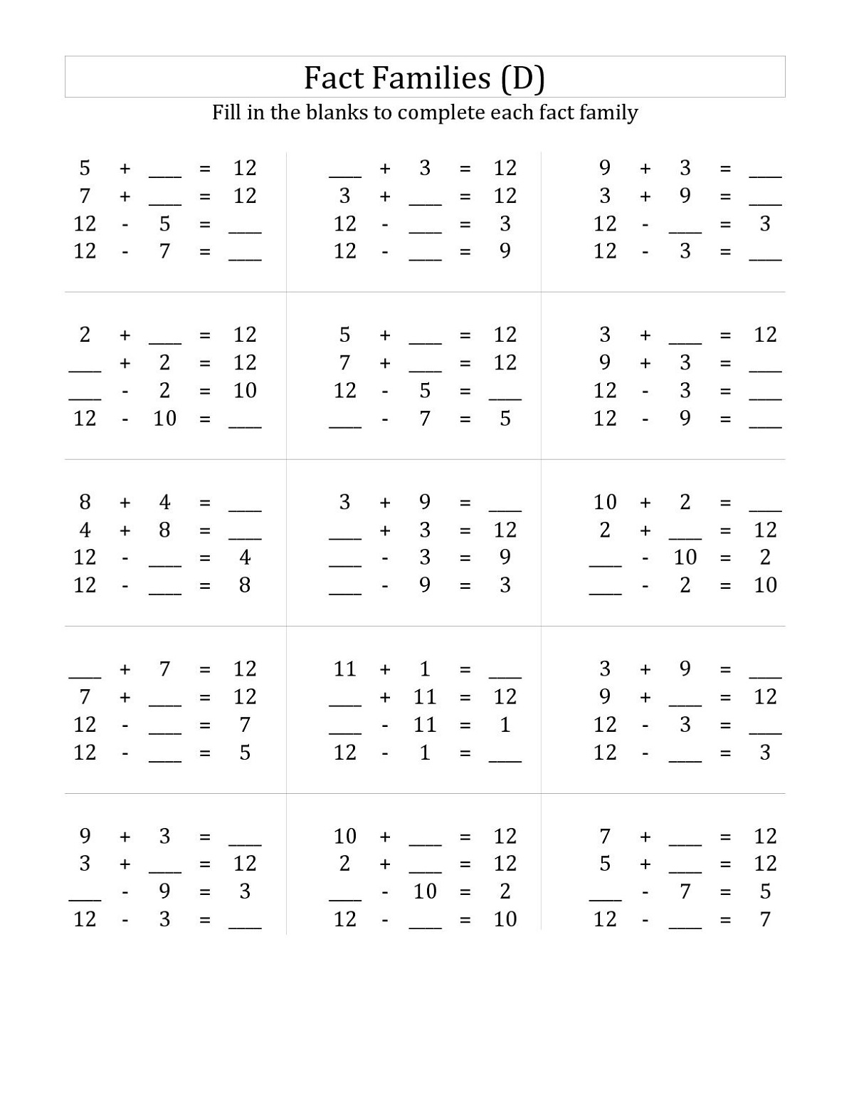 Basic Math Fact Practice Worksheets To Print