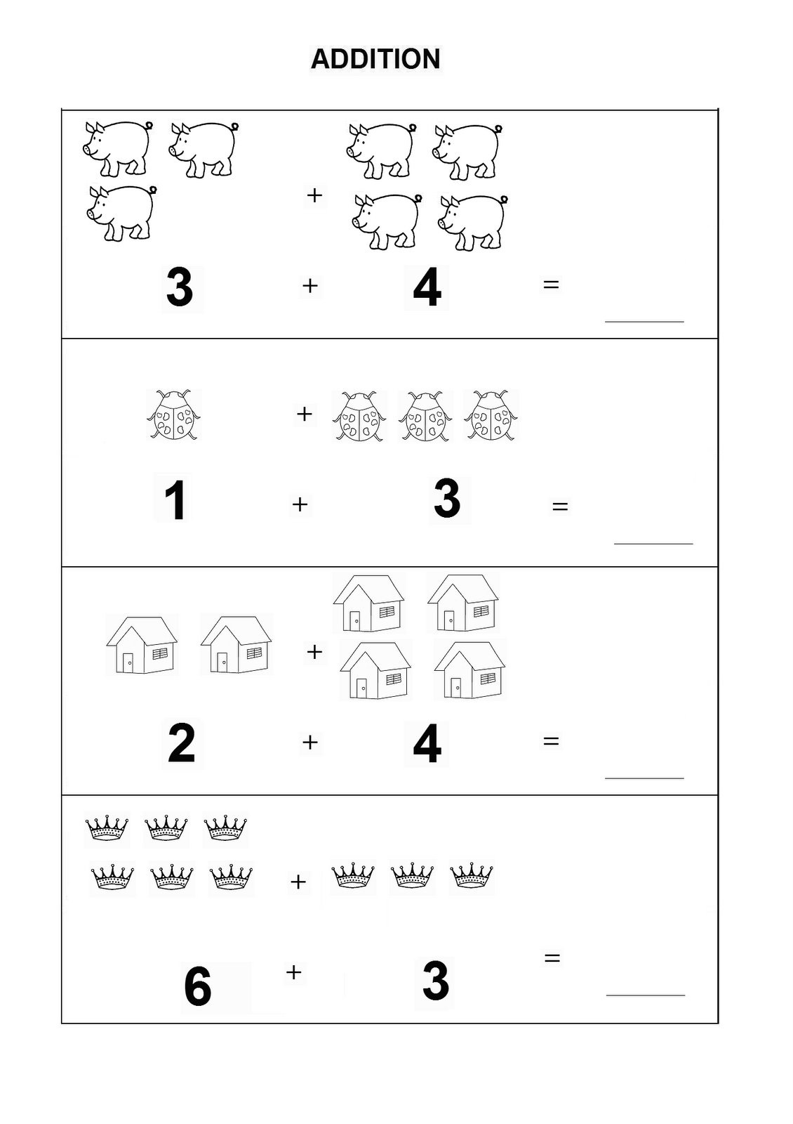 Kindergarten Math Worksheets Addition Learning Printable