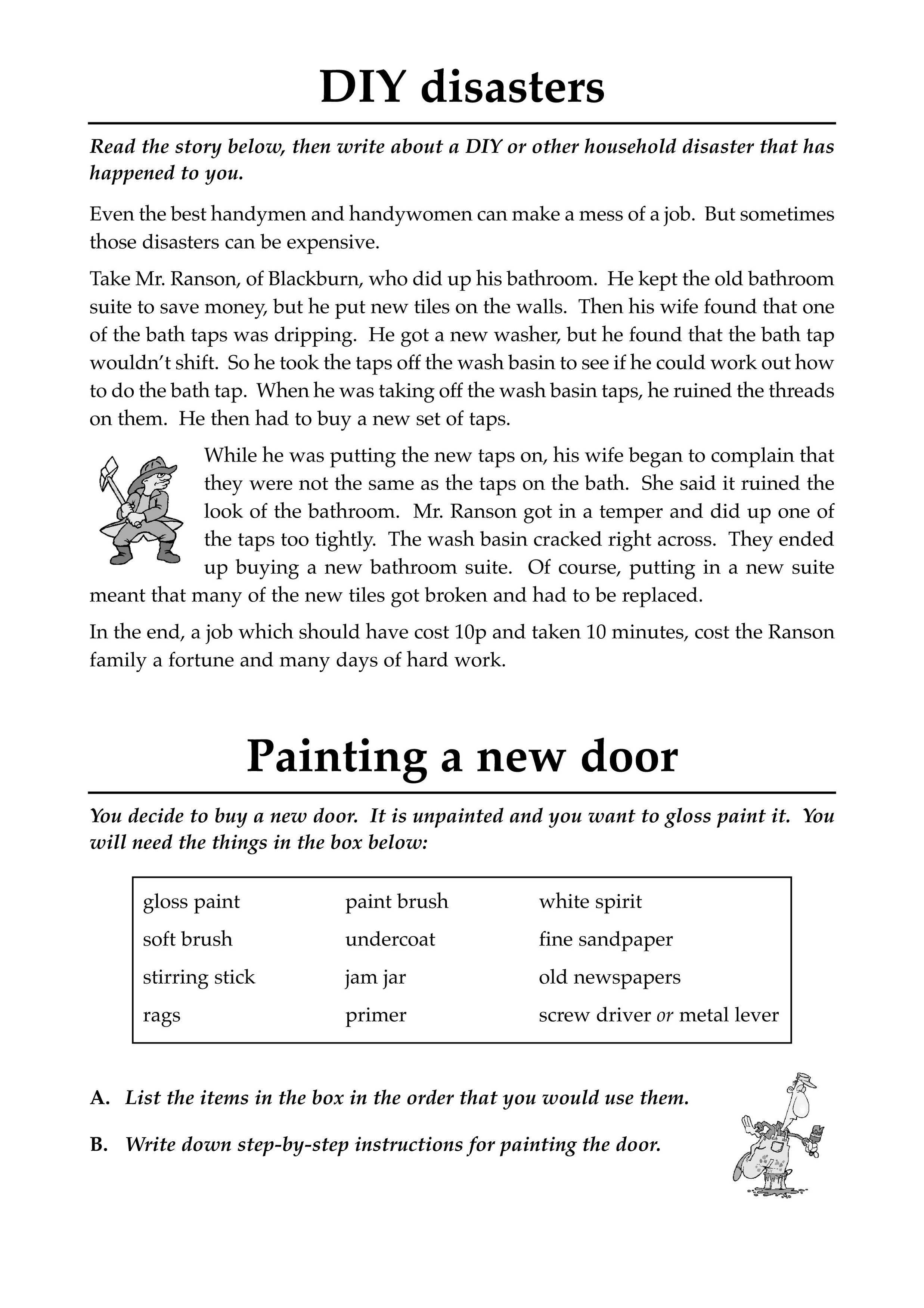 Literacy Worksheets Disaster Learning Printable