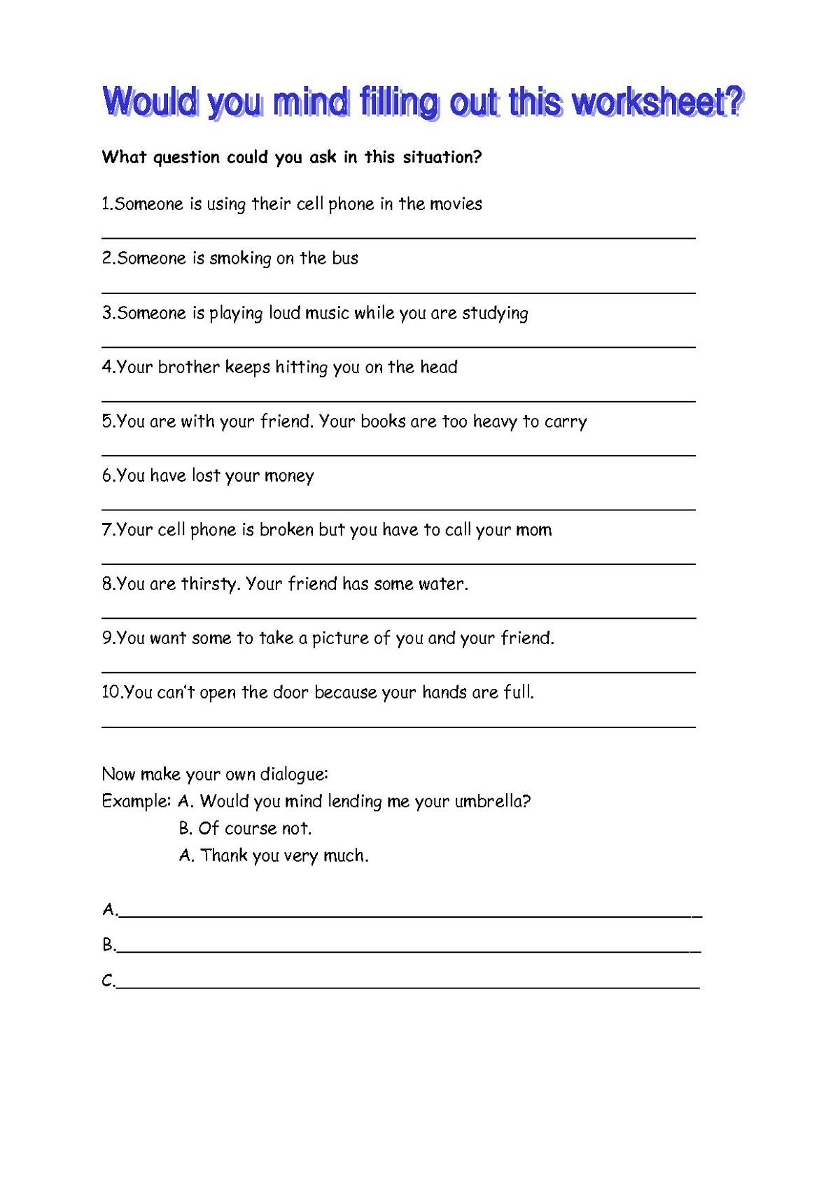 English Worksheets To Print Esl Learning Printable