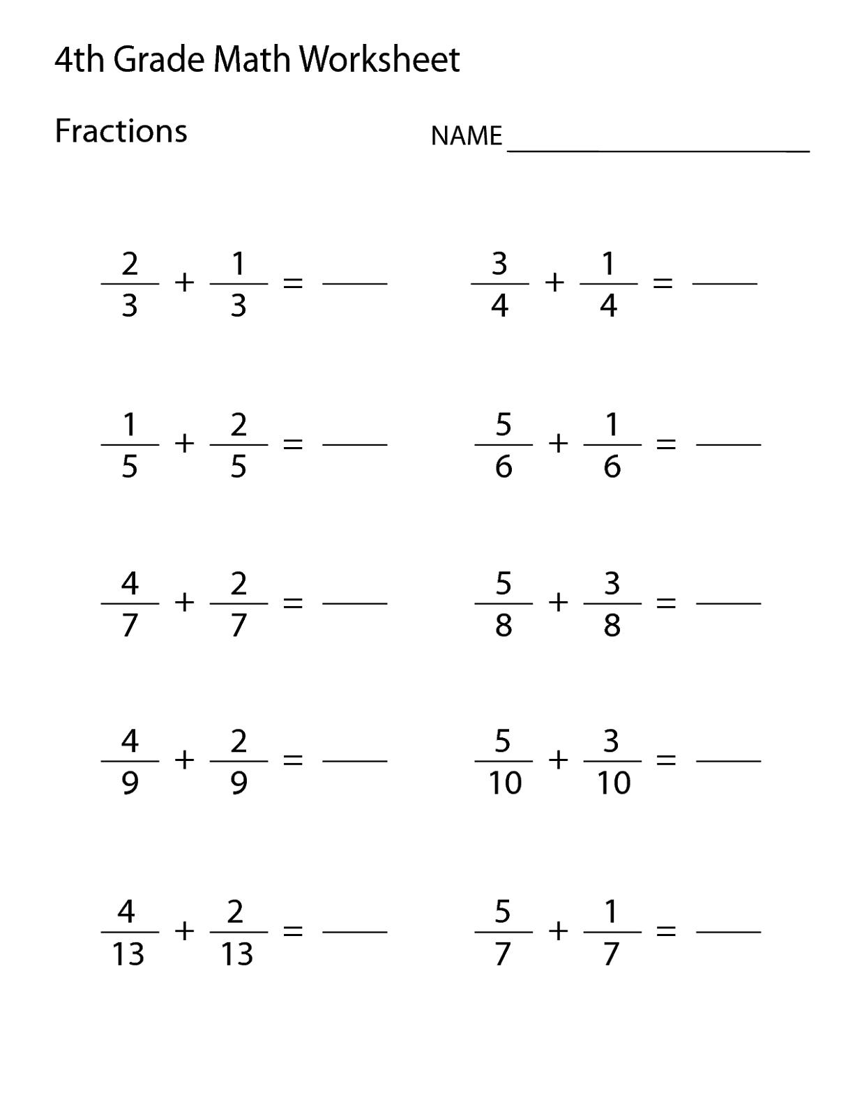 Printable Grade 4 Math Worksheets
