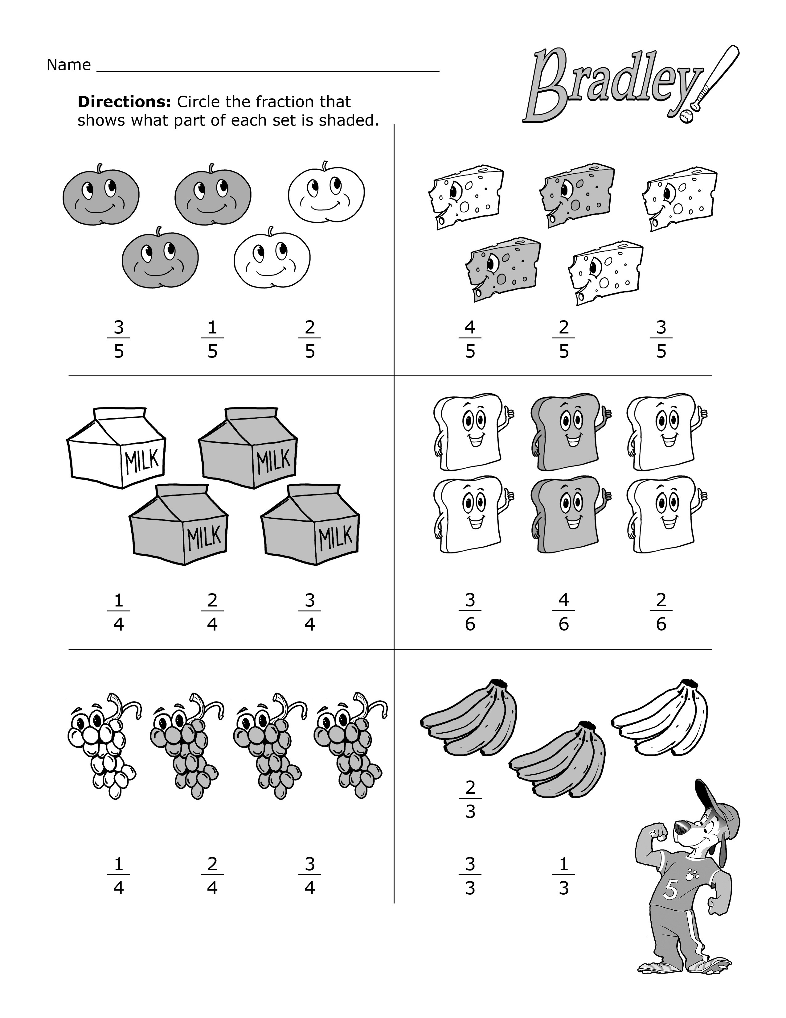 Second Grade Worksheets Fractions Learning Printable