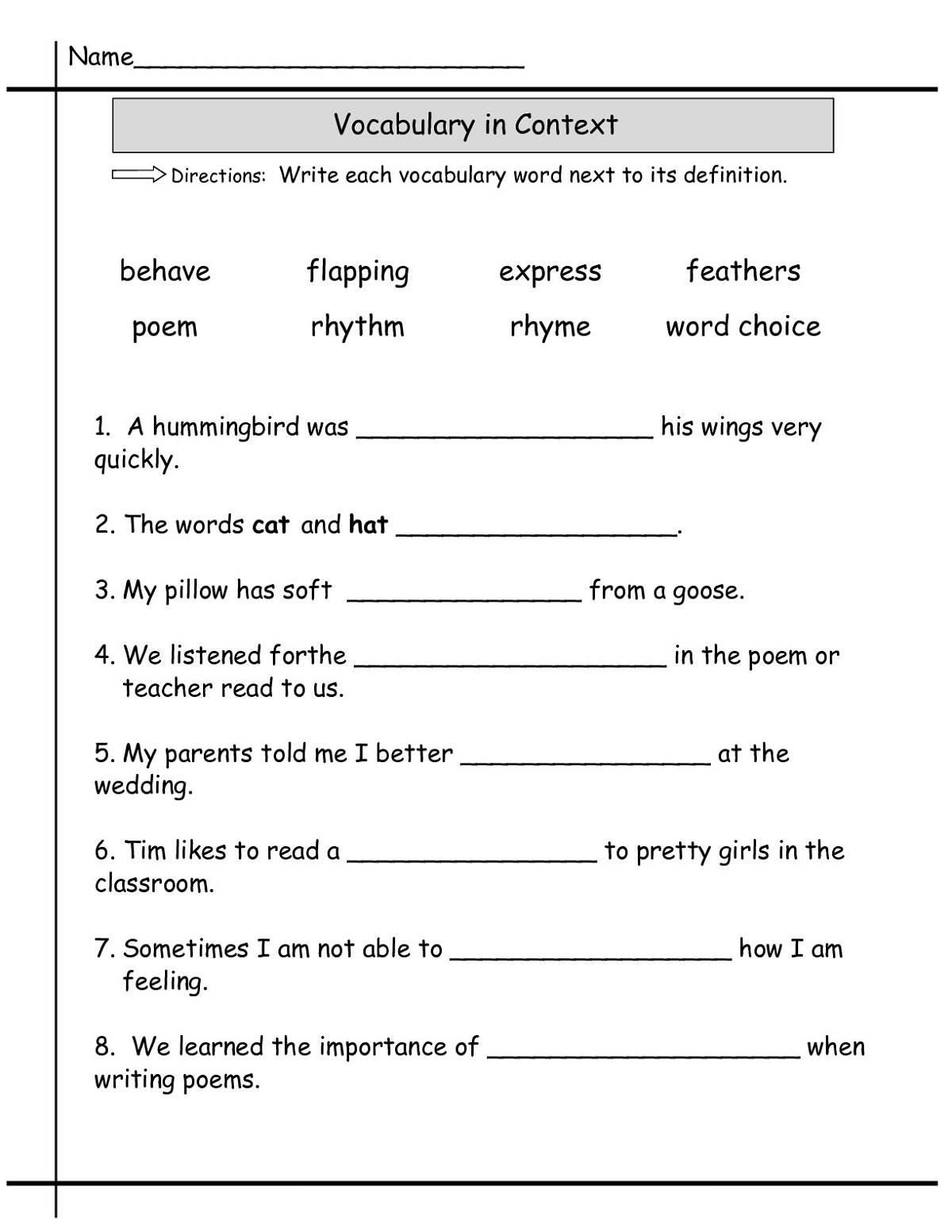 Science Worksheet Third Grade