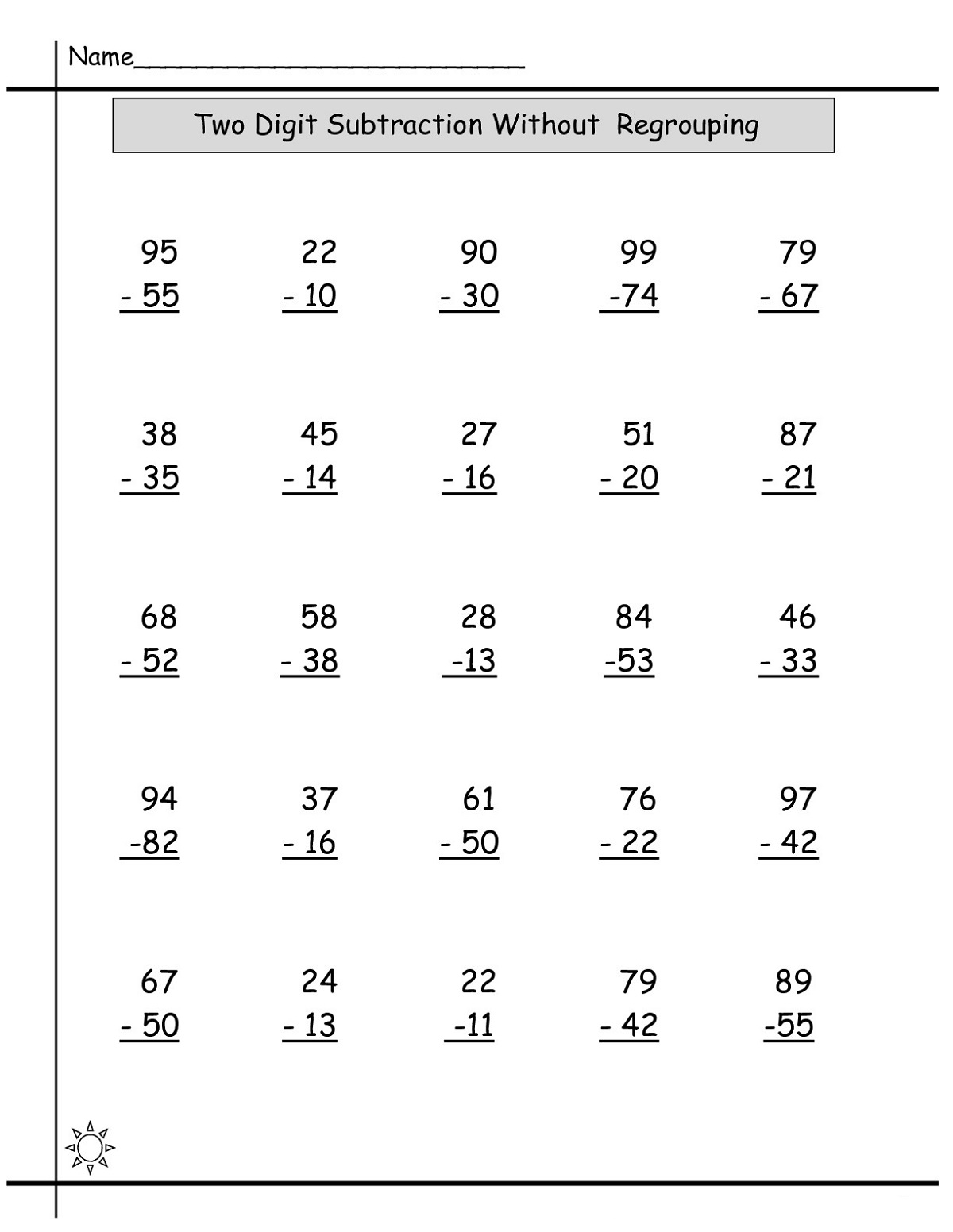 Math Sheets Subtraction Learning Printable
