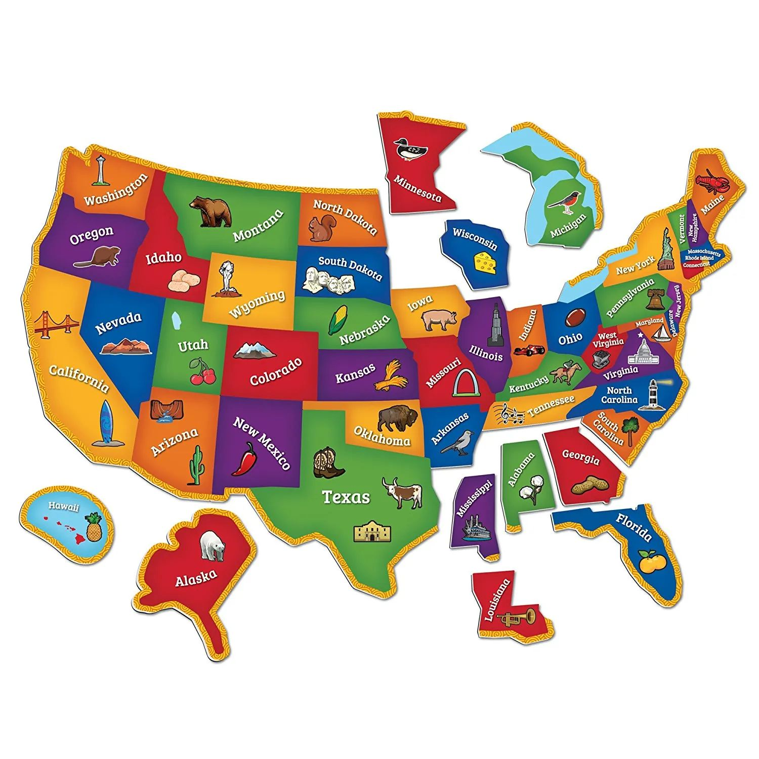 One of the limitations of google maps is its inability to save map images. Magnetic U S Map Puzzle