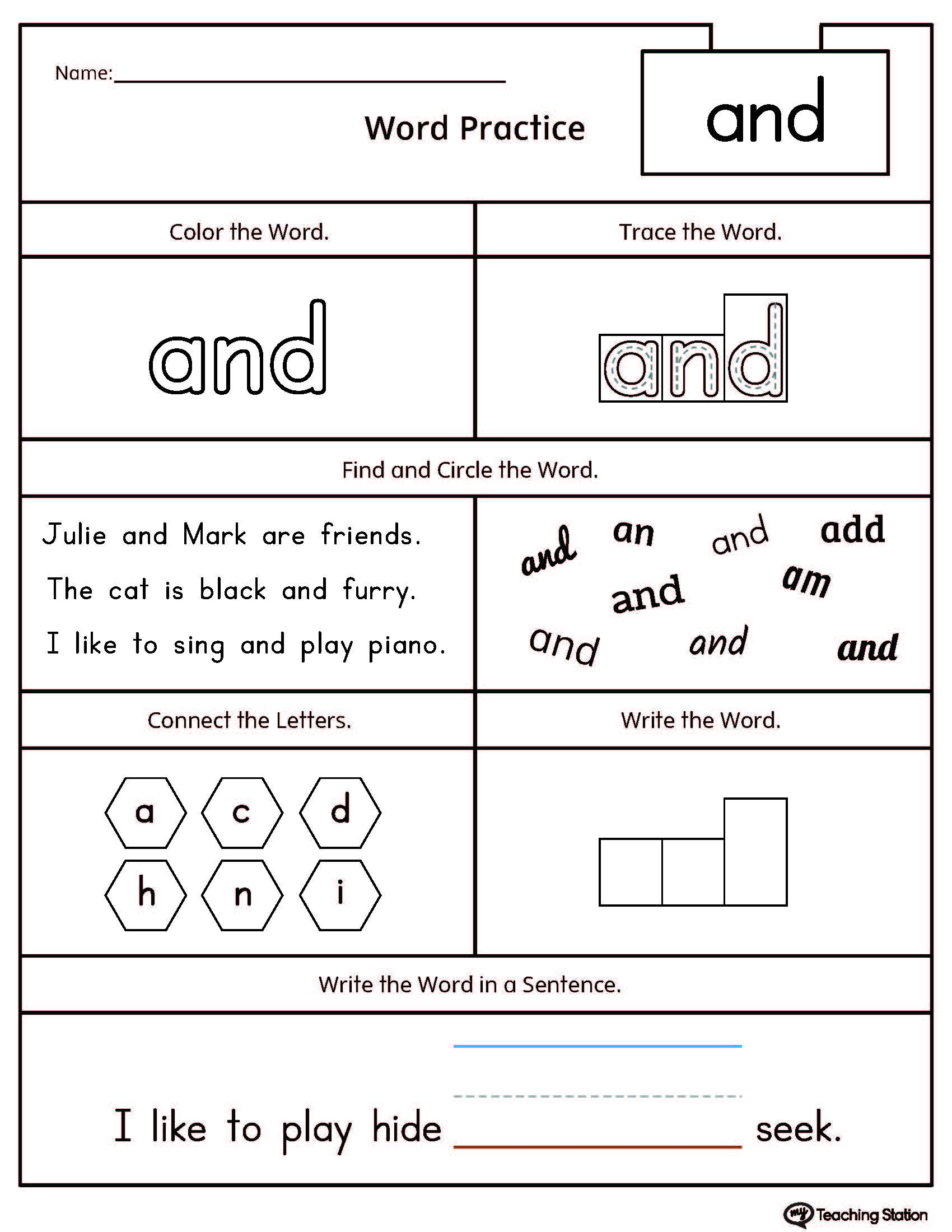 Printable Words Pictures