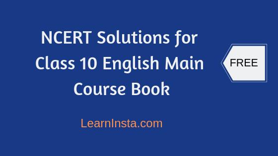 Main Course Book Class 10 English