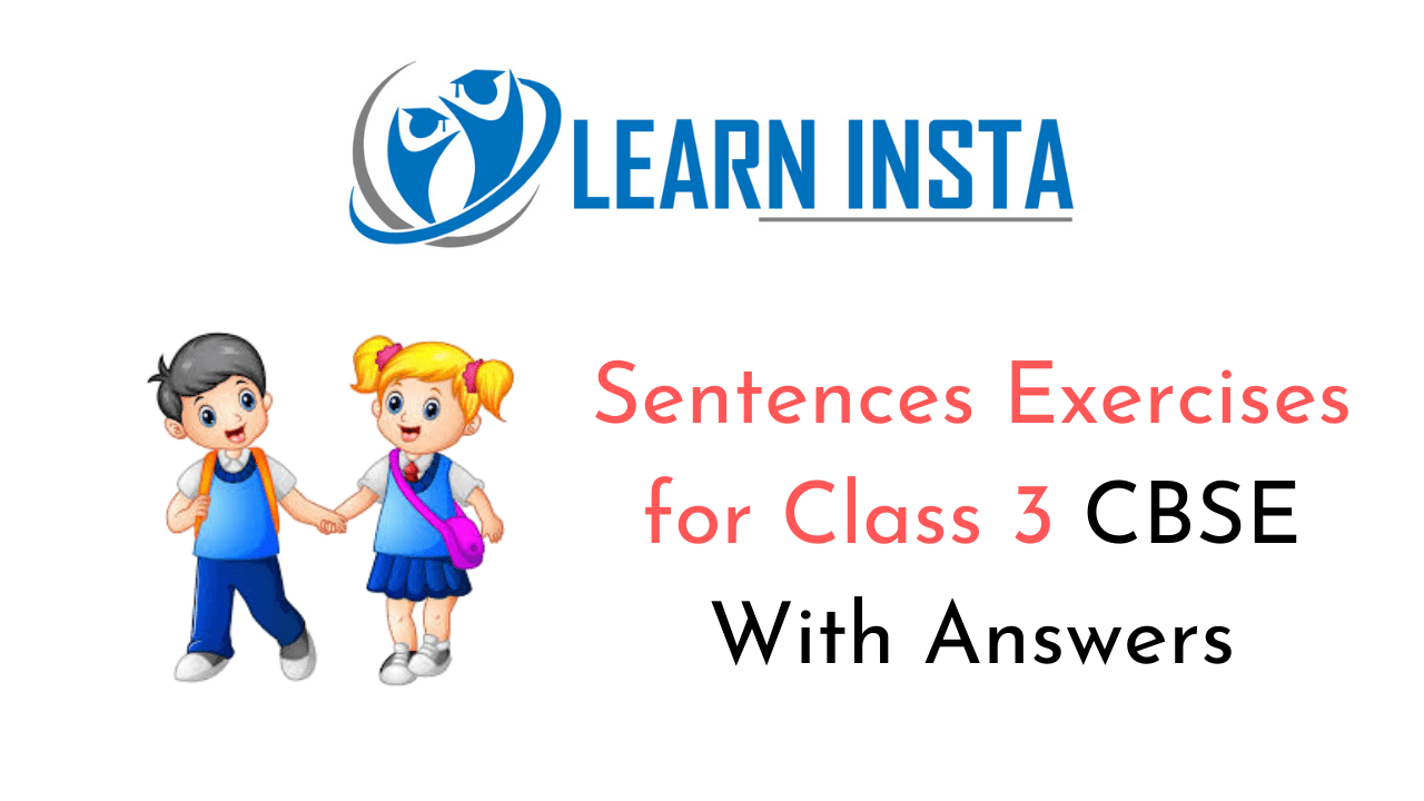 Sentences Exercises for Class 3 CBSE With Answers
