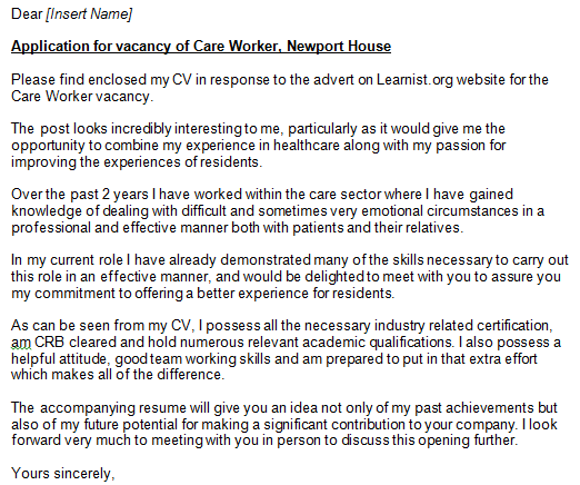 Care Worker Cover Letter Exampe