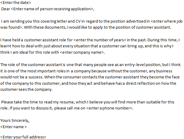 customer assistant job application letter example