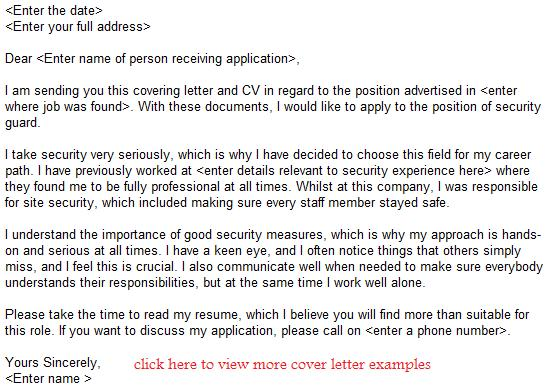 Security Guard Job Application Letter Example