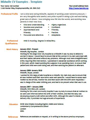 Midwife_cv_example Sample Application Letter For Midwife on summer job, for graduation, for training,