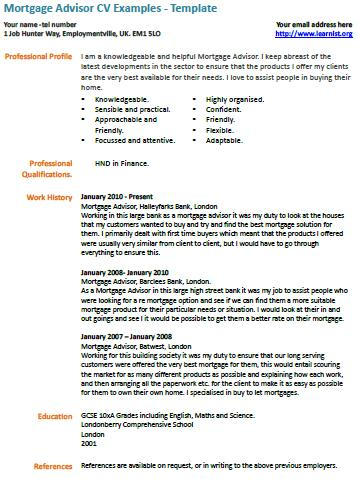 Mortgage Advisor CV Example - Learnist.org