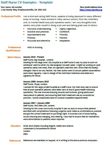 Staff Nurse Cv Example Learnist Org