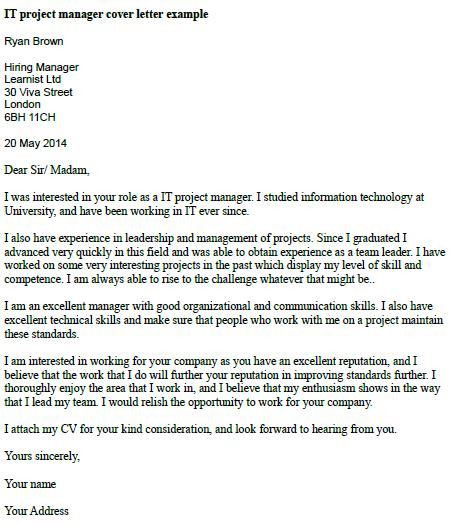 It project manager cover letter example for Cover letter looking forward to hearing from you