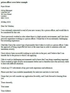 Prison Officer Cover Letter Example