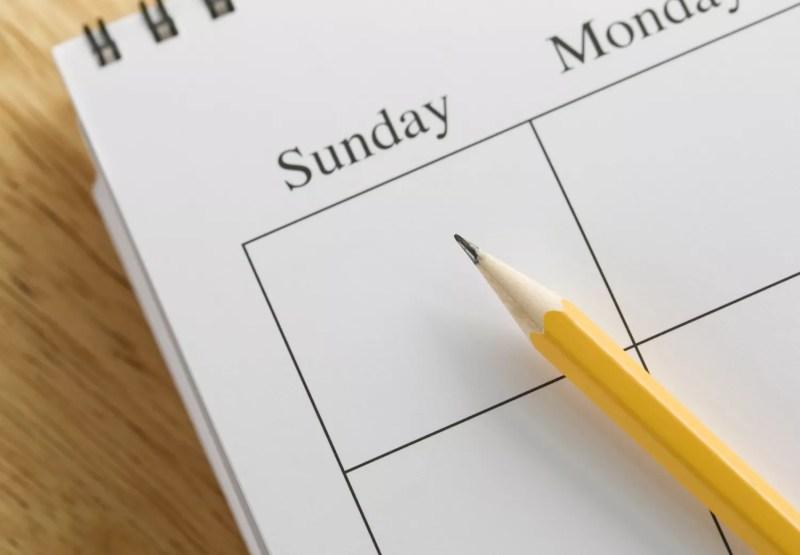 Dimanche sur un calendrier