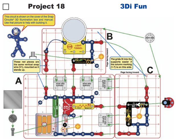 Diagram of a snap circuits project using the light tunnel and projector