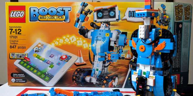 LEGO Boost box with the guitar model standing in front