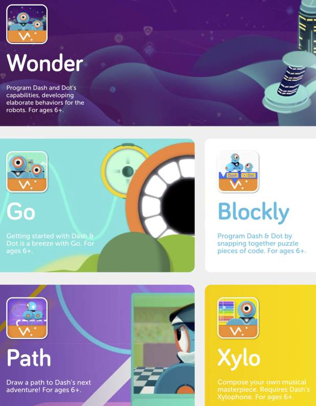 Screenshot showing all five Dash Robot Apps from Wonder Workshop