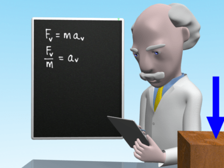 Mac is writing on a tablet and showing how to use F=ma