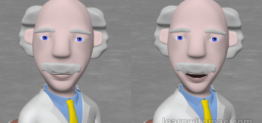There are two images side by side showing Professor Mac with his mouth half open and fully open