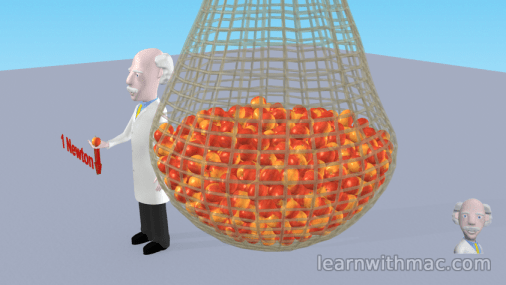 Professor Mac is standing to the side of a large bag of red apples suspended above the laboratory floor.