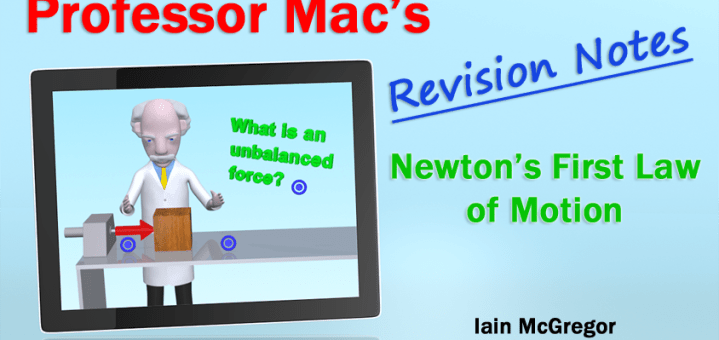 The image shows a tablet with a picture of Professor Mac on it and the title of the revision notes to the right hand side of the image.