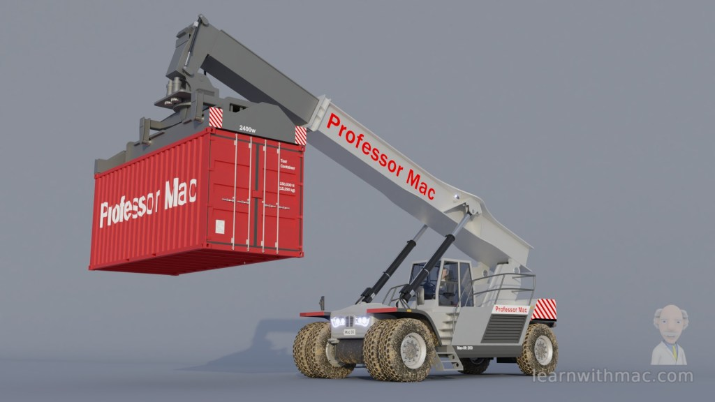 Professor Mac's model of a grey vehicle is lifting a red shipping container at the end of an extended arm