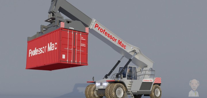 Professor Mac's grey vehicle is lifting a red shipping container at the end of an extended arm