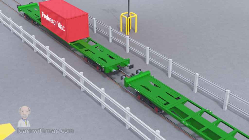 Two green freight wagons are on a rail track with one moving towards the other