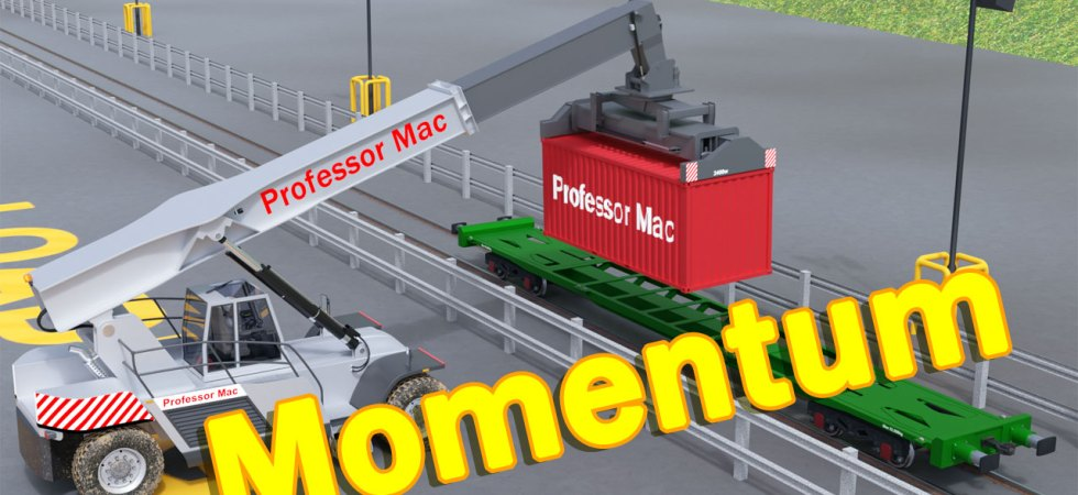 Professor Mac is in his grey vehicle with a shipping container on the end of its hydraulic arm. He is lowering the shipping container onto a green rail freight wagon to demonstrate momentum.