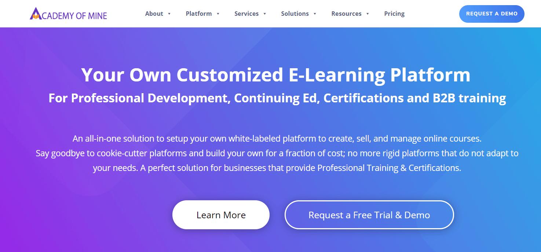 A screenshot showing a part of Academy of Mine website.
