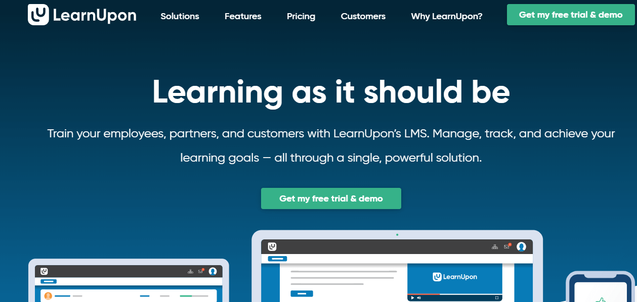 A screenshot showing a part of LearnUpon's website.