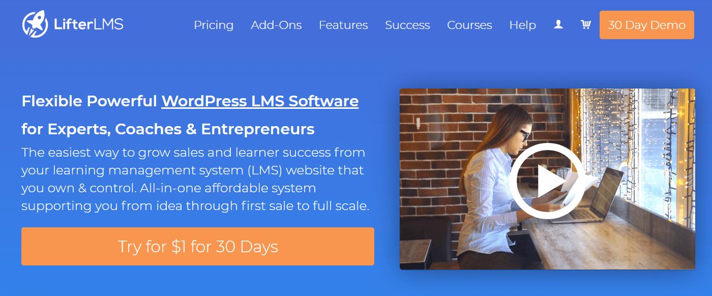 A screenshot showing a part of Lifter LMS' website.