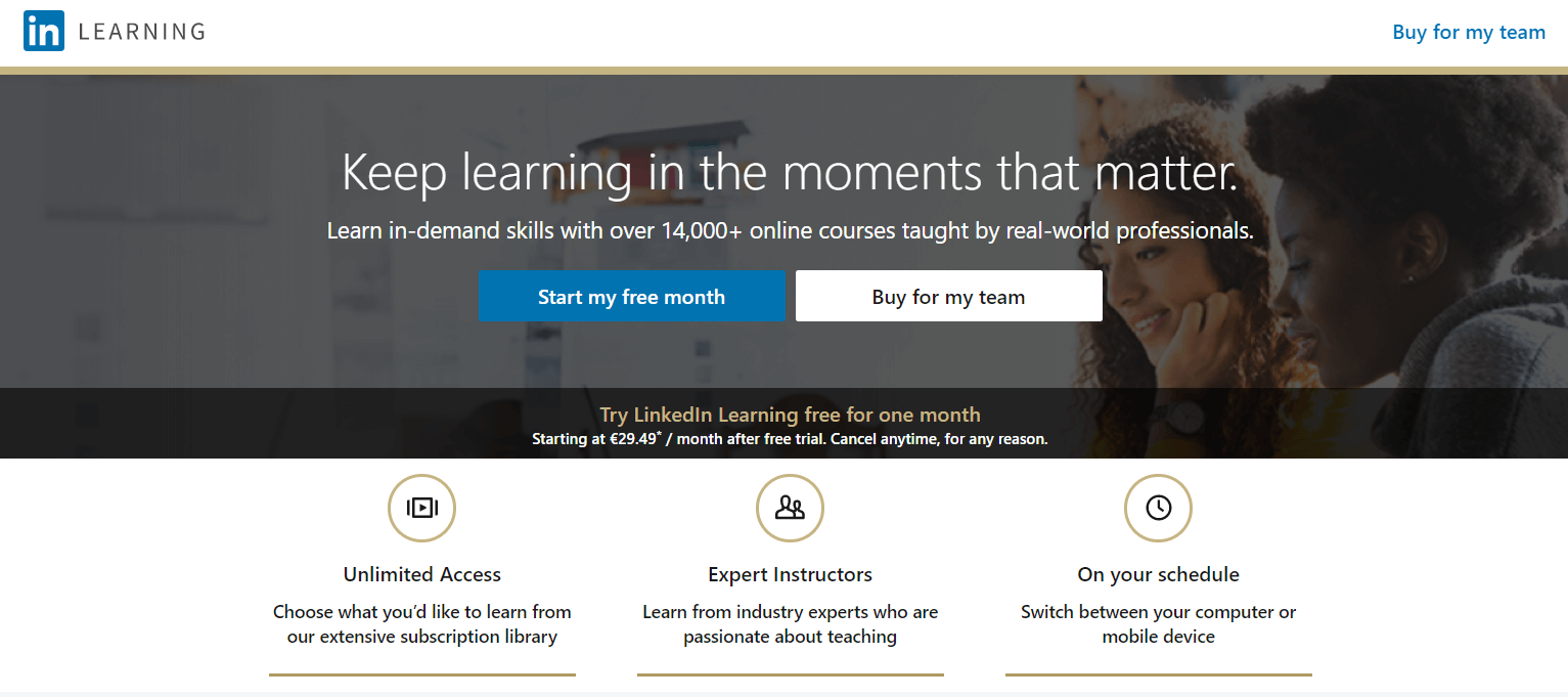 A screenshot showing a part of LinkedIn Learning's website.