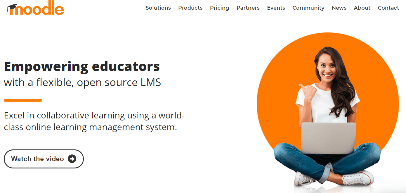 A screenshot showing a part of Moodle's website.